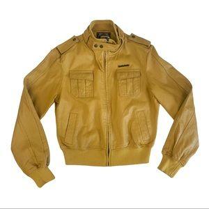 Live Mechanics Yellow Leather Moto Jacket